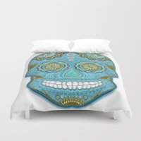 sugar skull Duvet Covers featuring sugar skull by Ancello