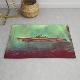 Golden Pirate Submarine Rug