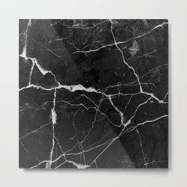 Black Suede Marble With White Lightning Veins Metal Print