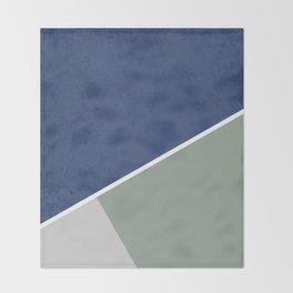 Navy Sage Gray Geometric Throw Blanket