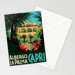 Vintage Capri, Italy Seaside Hotel Albergo La Palma Advertising Poster Stationery Cards