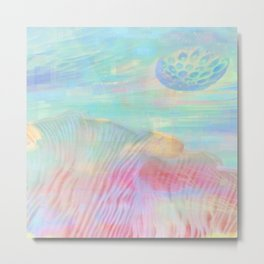 HOPSCOTCH SHRINE, a spaceship flying through a pastel art piece Metal Print
