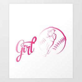 Softball T-Shirt For Girls. Great Gift Art Print