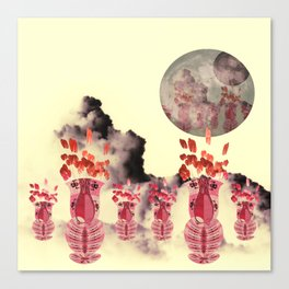 Pink Vase with Poppy Flowers Moon Canvas Print