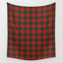 90's Buffalo Check Plaid in Christmas Red and Green Wall Tapestry