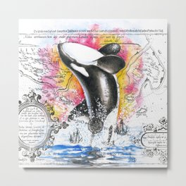 Breaching Orca Watercolor Rainbow Ancient Map Metal Print