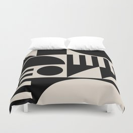 Mid Century Modern Geometric Abstract 936 Black and Linen White Duvet Cover