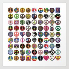 PEACE PATCH COLLECTION (white) Art Print