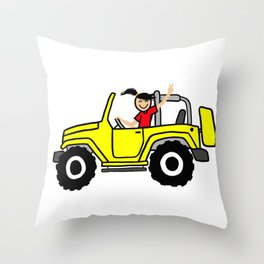 Wave yellow Side view Throw Pillow