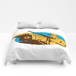 Pressure Washer Cleaner Worker Trailer Retro Comforters