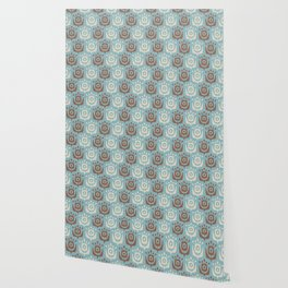 Mid Century Modern Retro Flower Pattern Blue and Brown 931 Wallpaper