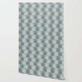 Mid Century Modern Retro Flower Pattern Blue and Brown 931 Wallpaper