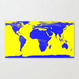 World Map Yellow & Blue Canvas Print