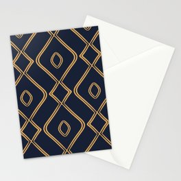 Modern Boho Ogee in Navy & Gold Stationery Cards