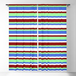 Eyecatching Green, Royal Blue, White & Dark Red Pattern of Stripes Blackout Curtain