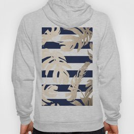 Simply Tropical Palm Leaves on Navy Stripes Hoody