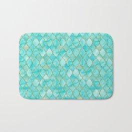 Luxury Aqua Teal and Gold oriental quatrefoil pattern Bath Mat