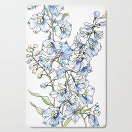 Blue Delphinium Flowers Cutting Board