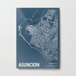 Asuncion Blueprint Street Map, Asuncion Colour Map Prints Metal Print