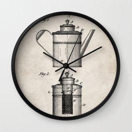 Coffee Patent - Coffee Shop Art - Antique Wall Clock