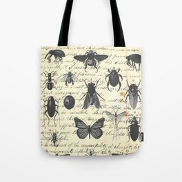 Insect Study on antique journal paper Tote Bag