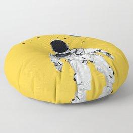 Astronaut Portrait on a Yellow Background Floor Pillow