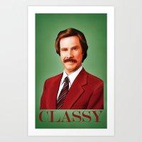 classy Art Prints featuring CLASSY by John Medbury (LAZY J Studios)