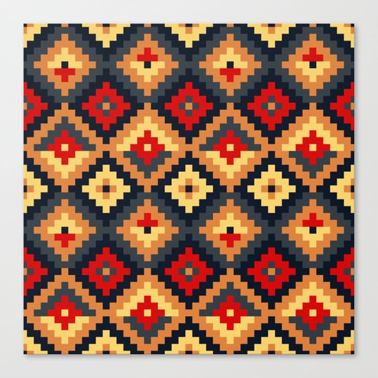 Aztec pattern-red, brown, nude, blue Canvas Print