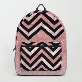 Modern black rose pink glitter lavender marble chevron Backpack