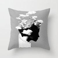 silhouette Throw Pillows featuring It's a cloudy day by Robert Farkas