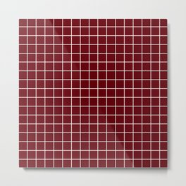 Rosewood - red color - White Lines Grid Pattern Metal Print