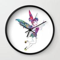 tinker bell Wall Clocks featuring Tinker Bell by Bitter Moon