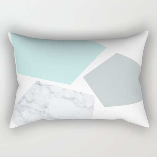 Geo marble and turquoise Rectangular Pillow