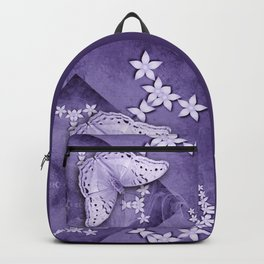 Flowers and butterfly with swirling fractal Backpack