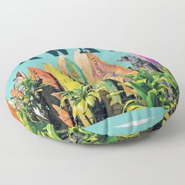 Hawaiian Surfboard Postcard Print Floor Pillow
