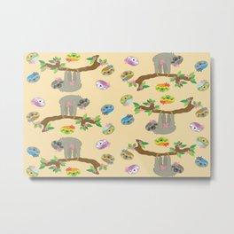sloth neutral color cute cartoon pattern Metal Print