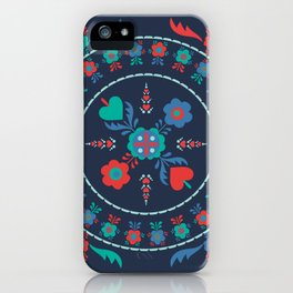 Folk Flowers with Red Border iPhone Case