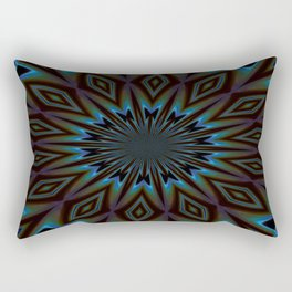Blue and Brown Floral Abstract Rectangular Pillow
