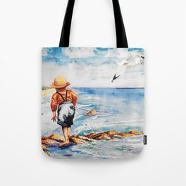 Watercolor Boy with Seagulls Tote Bag