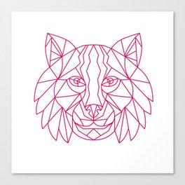 Lynx Bobcat Head Mono Line Canvas Print