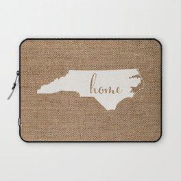 North Carolina is Home - White on Burlap Laptop Sleeve