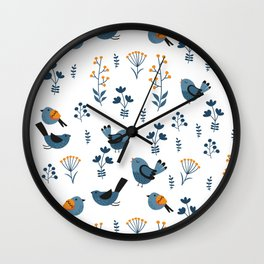 Modern Birds Pattern Wall Clock
