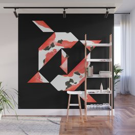 Tangram Koi - Black background Wall Mural