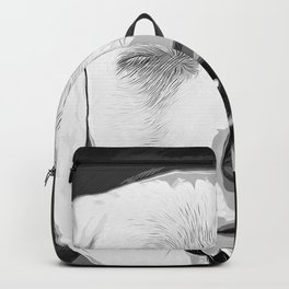 labrador retriever dog winking vector art black white Backpack