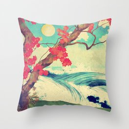 Waking to the Wild and Beautiful Ocean of Dhin Throw Pillow