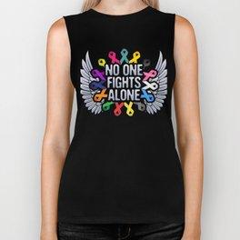 Multi Color Ribbon Cancer Awareness, No One Fights Alone, Fighting Survivor Biker Tank