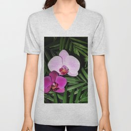 Orchids with palm leaves Unisex V-Neck
