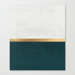 Deep Green, Gold and White Color Block Canvas Print