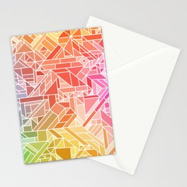 BRIGHT VIBRANT GRADIENT GEOMETRIC SHAPES RAINBOW PRINT TILED MOSAIC TIE DYE COLORFUL Stationery Cards
