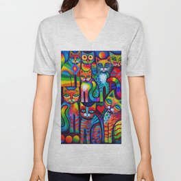 Owl and Pussicats Unisex V-Neck